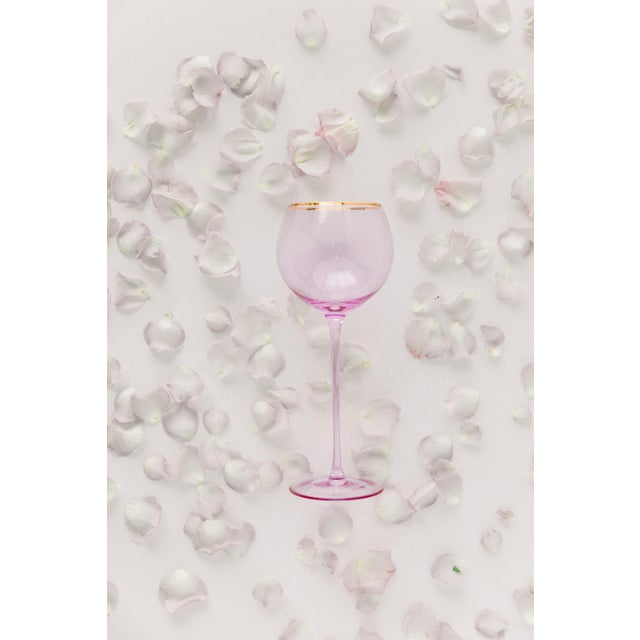 Modern Siren Beverageware Misty Lilac + Gold White Wine - Set of 4 For Sale - Image 3 of 4