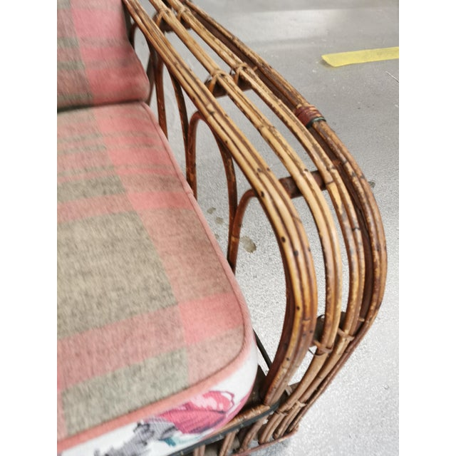 Pink Art Deco Reeded Rattan Lounge Chair and Ottoman For Sale - Image 8 of 13