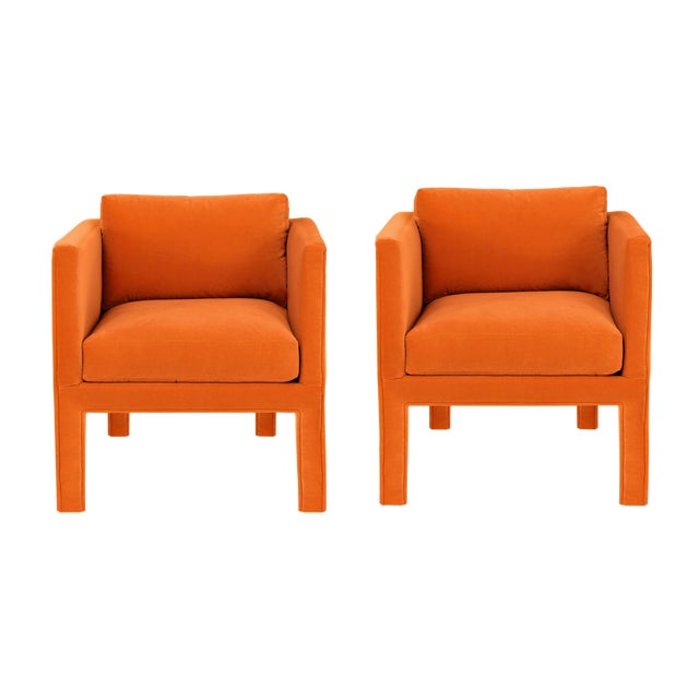 Milo Baughman 1970s Vintage Milo Baughman Style Parsons Lounge Chairs- A Pair For Sale - Image 4 of 4