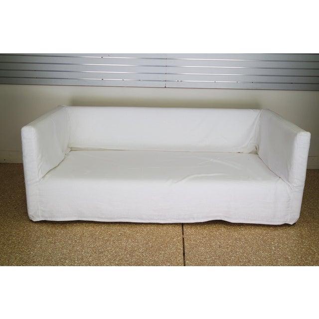 Custom Designer White Linen Slipcovered Sofa - Image 3 of 11