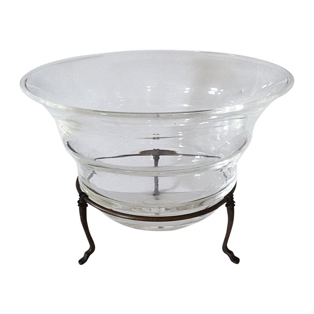 Transparent Glass Bowl on Metal Stand For Sale