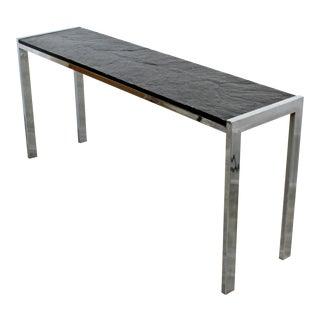 Mid Century Modern Chrome & Slate Long Console Table Baughman Style 1970s For Sale