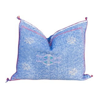 Nily Lumbar Moroccan Silk Rug Pillow For Sale