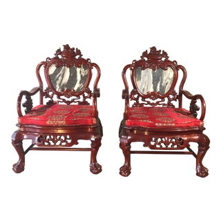 Vintage Mid Century Rosewood Chinese Chairs- A Pair For Sale
