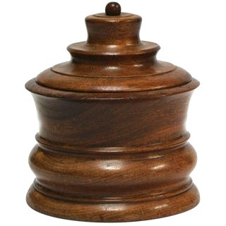 Wooden Tobacco Jar From Late 19th Century Belgium For Sale
