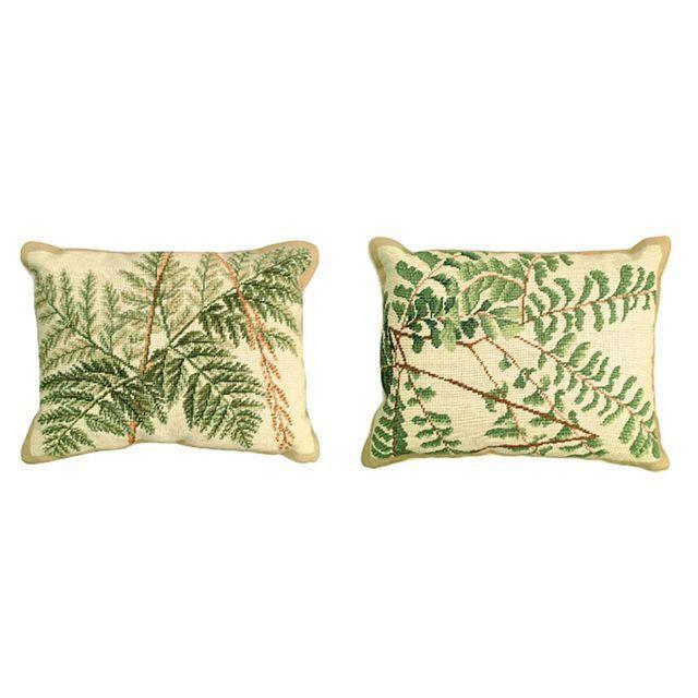 Americana Fern Needlepoint Pillows - Pair For Sale - Image 3 of 3