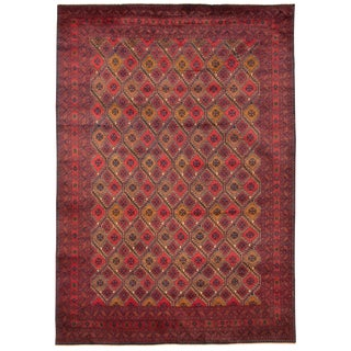 "Red Traditional Afghan Rug-6'8"" X 9'8"" For Sale"