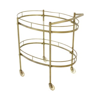 Oval Brass and Glass Two Tier Tea Cart on Wheels