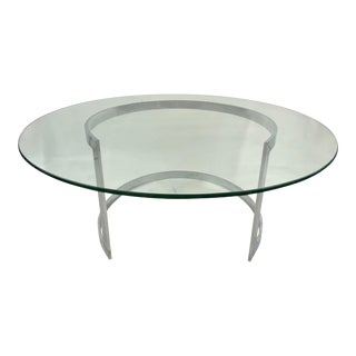 Mid Century Stainless Steel Crescent Coffee Table Attributed to Milo Baughman For Sale
