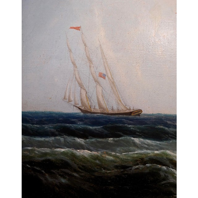 19th Century Portrait of an American Sailing Ship- Oil Painting -C1860s For Sale - Image 9 of 12