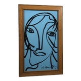 """Image of 1980s Peter Keil """"Blue Face"""" Painting For Sale"""