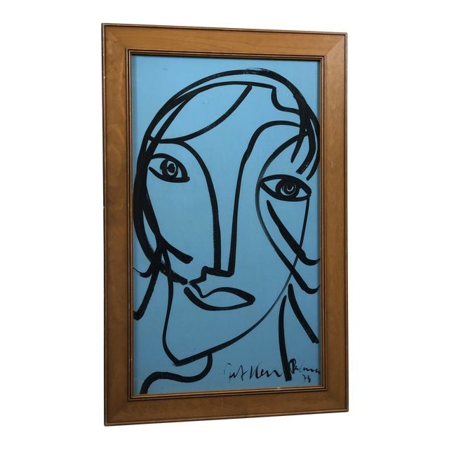 """1980s Peter Keil """"Blue Face"""" Painting For Sale"""