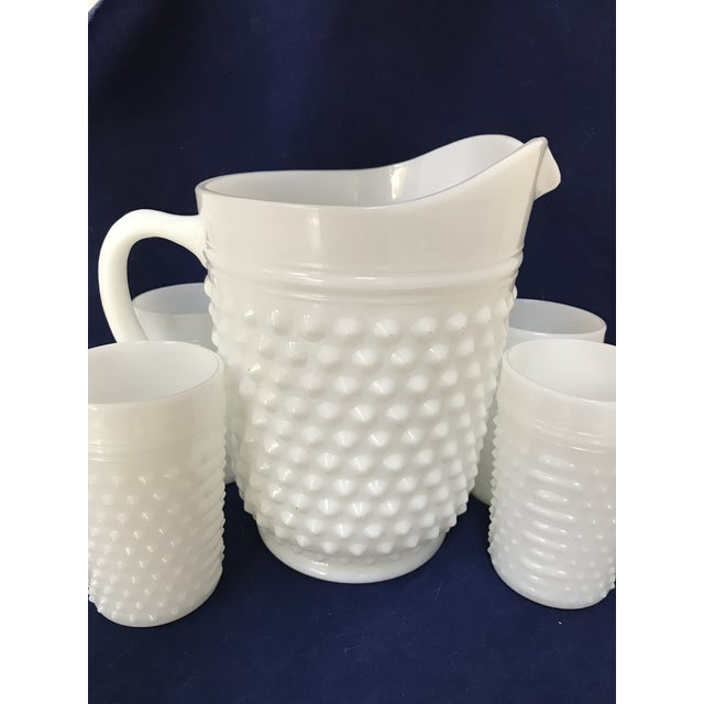 Classic, hobnail, white milk glass pitcher and 4 glasses for those long, hot summer days! Fenton, unsigned.