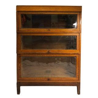 Antique Globe Wernicke Arts & Crafts Mission Oak 3 Stack Barrister Bookcase