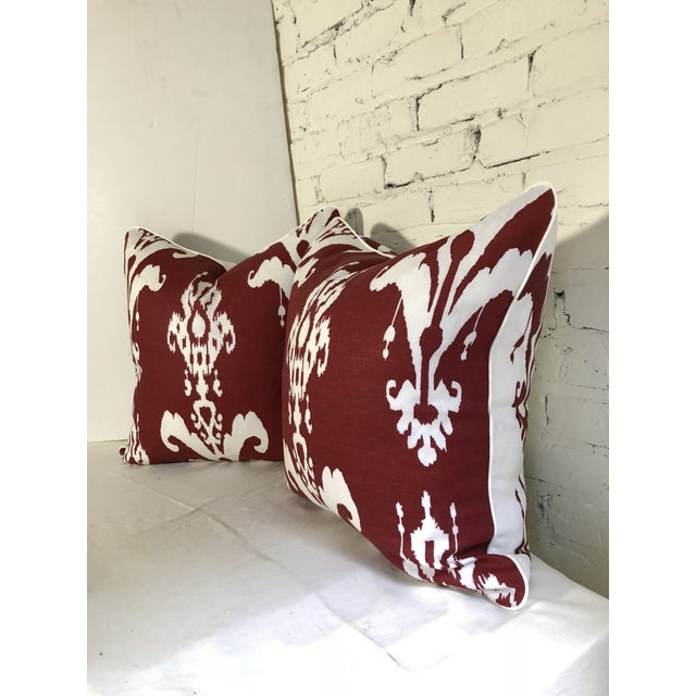 Pair of Red and White Ikat Pillows by Jim Thompson For Sale - Image 4 of 10