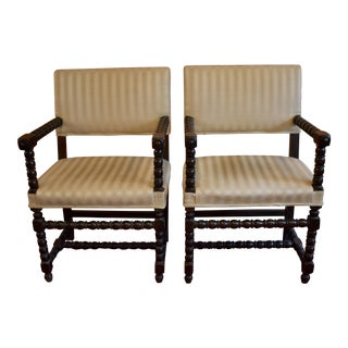 Early 19th C. Dutch Colonial Ebonized Spindle Turned Wood Side Chairs, a Pair For Sale