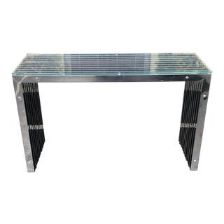 Modernist Designer Console Table W Chrome Reeds & Glass Top For Sale