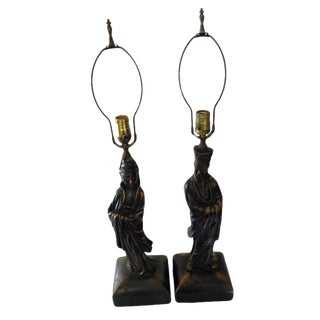 Asian Mid Century Aged Chalkware Figurative Lamps - Set of 2 For Sale