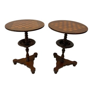 Pair of 19th Century Hand Made Mahogany & Walnut Chess / Games Tables For Sale