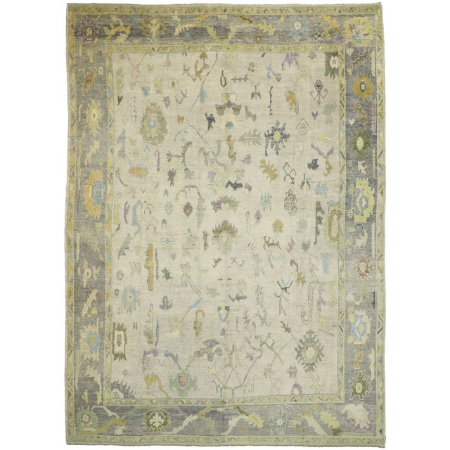 Beige Contemporary Turkish Oushak Rug With Pastel Colors - 12'05 X 17'01 For Sale - Image 8 of 9