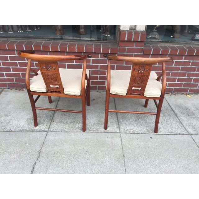 Chinese Rosewood Horshoe Chairs a Pair For Sale In San Francisco - Image 6 of 7