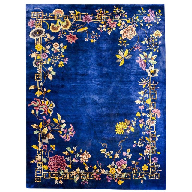 Chinese Art Deco Indigo Floral Rug - 8′ × 9′9″ - Image 1 of 4