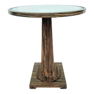 Macassar Ebony Round Accent Table, w/ Bevel Mirrored Top For Sale