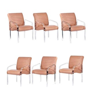 Lucite and Leather Lounge Chairs by Leon Frost For Sale