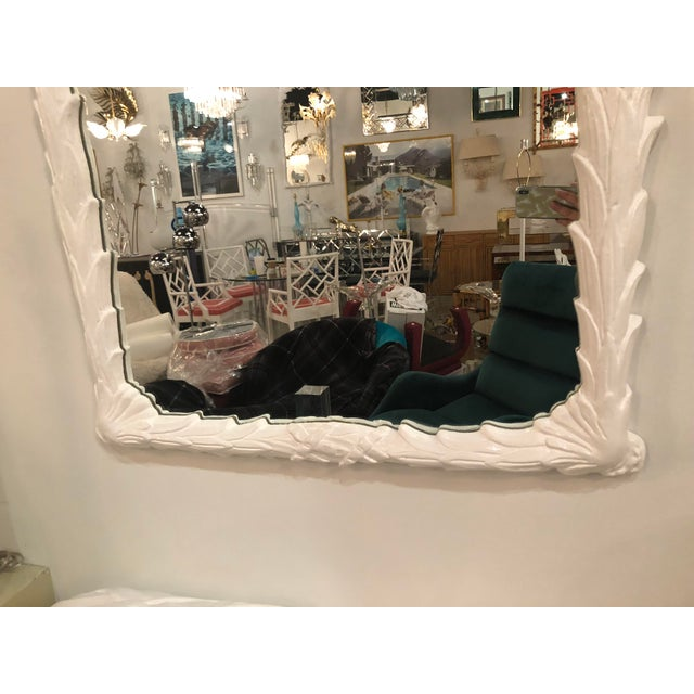 Vintage White Lacquered Palm Frond Wall Mirror For Sale - Image 9 of 11