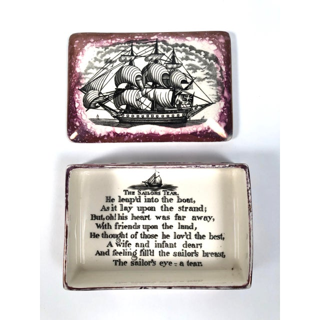 Staffordshire Sunderland Lustreware Porcelain Box With Sailor and Ship Theme For Sale - Image 10 of 12