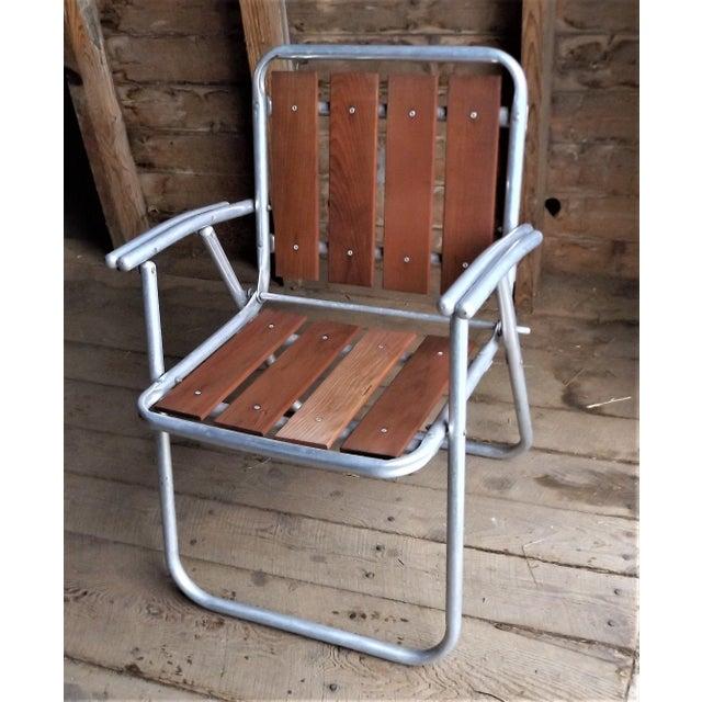 Wondrous Redwood Aluminum Folding Patio Lawn Chairs Set Of 3 Short Links Chair Design For Home Short Linksinfo