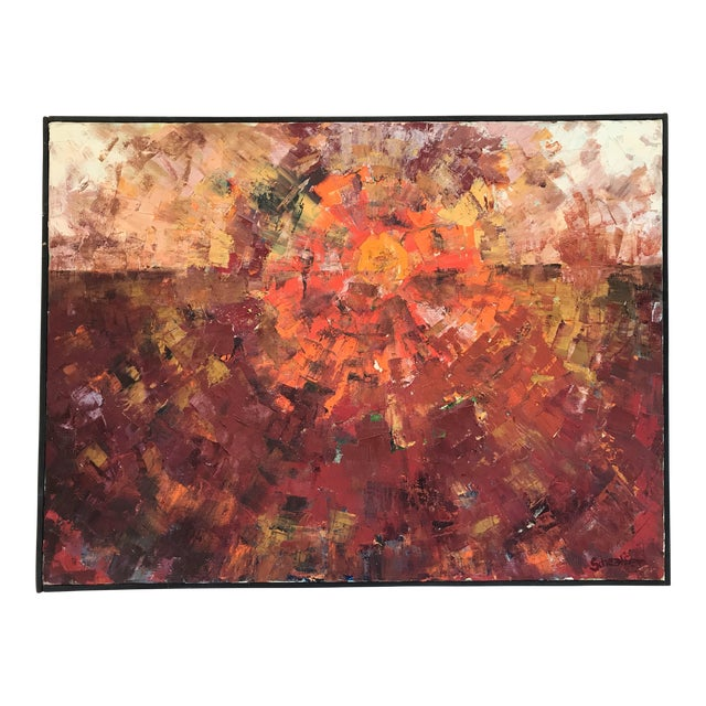 1960s Abstract Sun Oil Painting For Sale