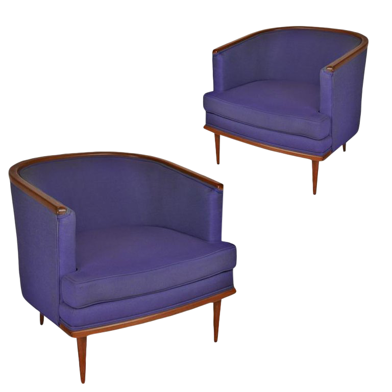 Superieur Pair Of Milo Baughman Barrel Back Lounge Chairs With Walnut Detail