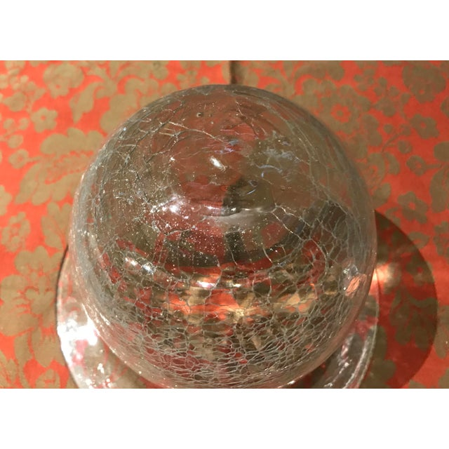 This is a vintage crackled clear glass bell shaped display cloche- it is one of two I am selling. The glass is on the...