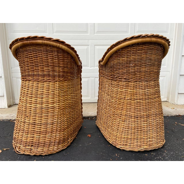 Gabriella Crespi Vintage 1970's Crespi Style Woven Rattan and Bamboo Bar Stools - a Pair For Sale - Image 4 of 13