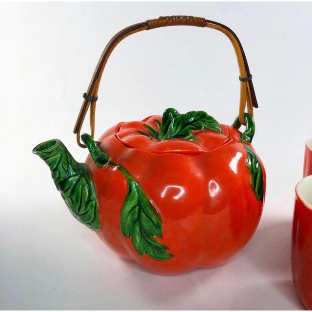 Mid-Century Tomato Tea Set   Made in Japan   8 Piece Vintage Tea Set   Vintage Teapot and Tea Cups In beautiful condition...