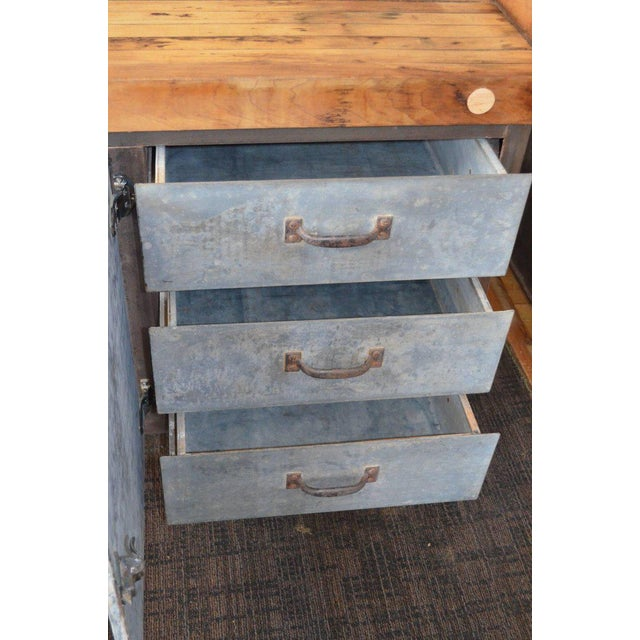 Kitchen Island Worktable With Butcher Block Maple Top on Steel Base ...