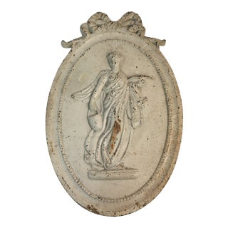 Antique Style Cast Iron Neoclassical Woman Relief Wall Plaque For Sale
