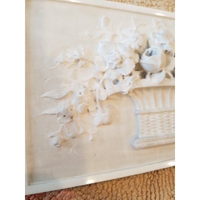 Early 21st Century Carved Marble Floral Basket Panel For Sale - Image 5 of 8