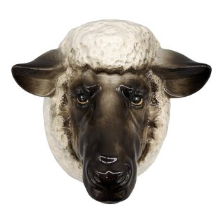 Late 20th Century Vintage Farmhouse Fitz and Floyd Sheep Mount Bust Wall Pocket/ Sculpture For Sale