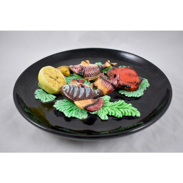 1950s Vallauris French Provençal Palissy Trompe L'oeil Seafood & Lemon Wall Plate For Sale - Image 5 of 11