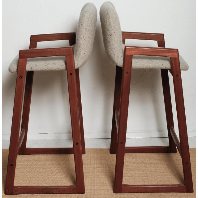 1960s Danish Fully Restored Teak Bar Stools - Set of 4 For Sale - Image 11 of 13
