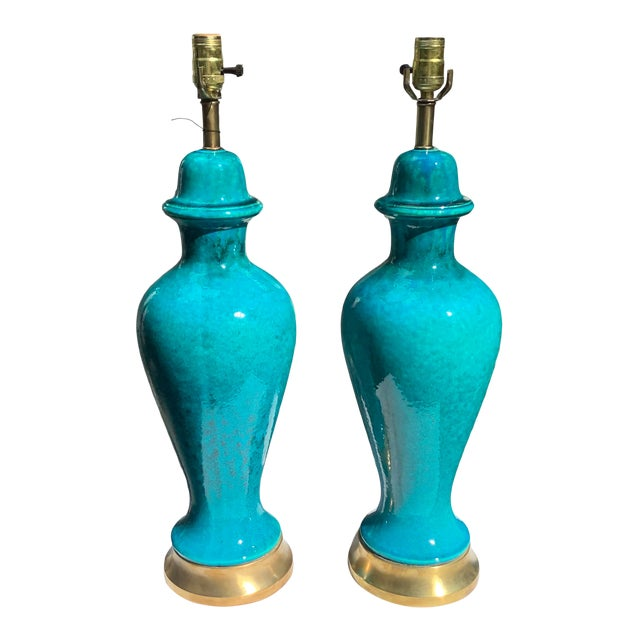 Italian Mid-Century Modern Blue Lamps, a Pair For Sale