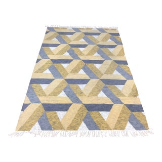 West Elm 5ft X 8ft Matrix Wool Kilim Area Rug For Sale
