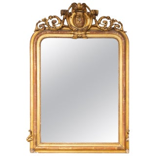 Antique French Louis Philippe Gilt Mirror With Scroll Cartouche Detail For Sale