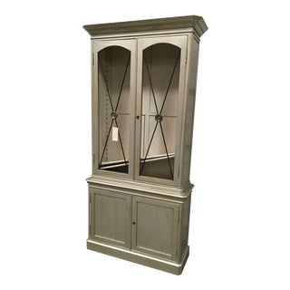 French Sherrill Transitional Gray Two Door Display Cabinet For Sale