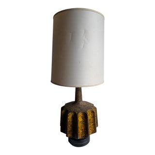 Vintage Mid Century Drip Glazed Gear Shaped Table Lamp