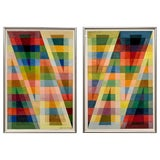 Image of Geometric Drawings Signed by Artist William Sayles For Sale