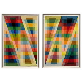 Geometric Drawings Signed by Artist William Sayles For Sale