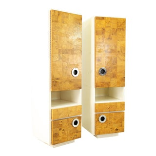 Milo Baughman for Lane Mid Century Laminate Burlwood and Chrome Wall Units - Pair For Sale